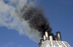 Ships funnel emitting smoke Stock Images