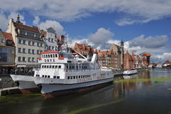 Ships in Gdansk harbour. Passenger catamaran ship in old Gdansk harbour during summertime Stock Photography