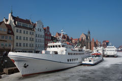 Ships in Gdansk at winter. Stock Photo