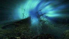 Ships graveyard underwater in space ocean and colorful wormhole. Ships graveyard underwater under the space ocean and colorful wormhole stock video