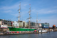 Ships at Hamburg harbor Royalty Free Stock Images
