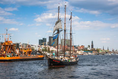 Ships at Hamburg harbor Royalty Free Stock Photo