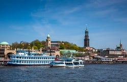 Ships at Hamburg harbor stock photography