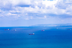 Ships in the harbor, the Mediterranean Sea Stock Photos