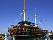 Ships in the harbor of Ormos Panagias Stock Images