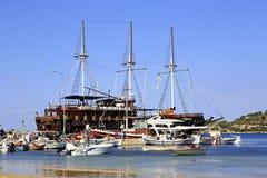 Ships in the harbor of Ormos Panagias Stock Photos