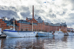 Ships in the harbor of Stockholm Stock Photos
