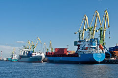 Cargo ships in a Harbor Stock Photo