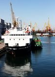 Ships in harbour royalty free stock photo