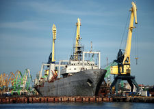 Ships in the harbour. Port Klaipeda Royalty Free Stock Images
