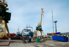 Ships in the harbour. Port Klaipeda Stock Photography