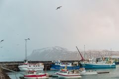 Ships in harbour and beautiful snow-covered mountains on horizon in Reykjavik, Iceland. REYKJAVIK, ICELAND - 03 JANUARY, 2017: ships in harbour and beautiful royalty free stock photography