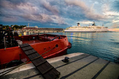 Ships in harbour. Ships at Croatian ferry harbour of Split Stock Image