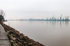 Ships in the harbour in fog stock photography