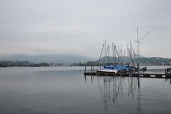 Ships on harbour in Luzern lake Stock Photos