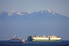 Ships in the Haro Strait Stock Photography
