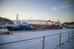 Ships have uploaded timber (early morning) Royalty Free Stock Image