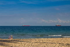 Ships on horizon Royalty Free Stock Photo