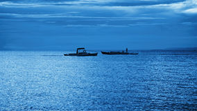 Ships on the horizon. Floating ships on the horizon at sunset, Philippines Stock Images