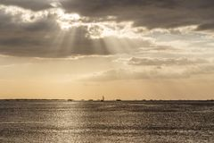 Ships on the horizon at Manila Bay royalty free stock image