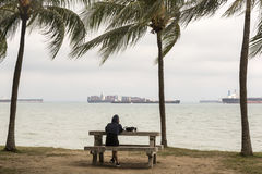 Ships at the horizon in Singapore Stock Photography