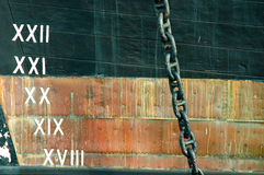 Ships hull above the Waterline. With depths shown as roman numerals Stock Photo