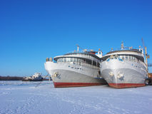 Ships in ice. Astrakhan, Russia Stock Images