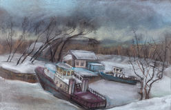 The ships in ice to a captivity. The stood river, the ships at coast, snow Stock Photography