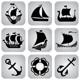 Ships icons Stock Images