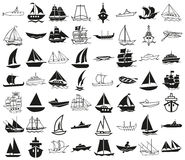 Ships icons on white Royalty Free Stock Photo