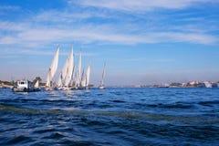 Ships In The Blue Sea Stock Photos