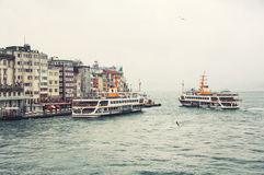 Ships in Istanbul at Galata pier Royalty Free Stock Photography