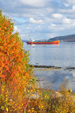 The ships are on the Kola Bay in Murmansk city Royalty Free Stock Photo