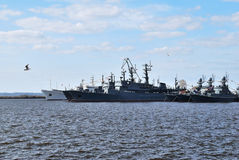 Ships in Kronstadt Royalty Free Stock Photo