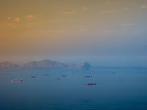 Ships at Lima bay in Peru. Aerial view of ships at Lima bay in Peru Royalty Free Stock Photos