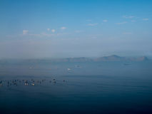 Ships at Lima bay in Peru. Aerial view of ships at Lima bay in Peru Royalty Free Stock Photography