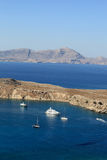 Ships in Lindos bay Royalty Free Stock Photo