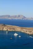 Ships in Lindos bay Royalty Free Stock Photo
