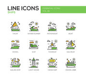 Ships - line design icons set. Ships - set of modern vector line design icons and pictograms. Yacht, water runner, motor boat, vessel, towboat, sailing ship Stock Images