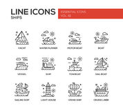 Ships - line design icons set. Ships - set of modern vector plain line design icons and pictograms. Yacht, water runner, motor boat, vessel, towboat, sailing Royalty Free Stock Images
