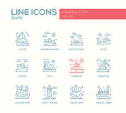 Ships - line design icons set. Ships - set of modern vector plain line design icons and pictograms. Yacht, water runner, motor boat, vessel, towboat, sailing Stock Photography