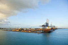 Ships loading and unloading in grand bahama Stock Photography