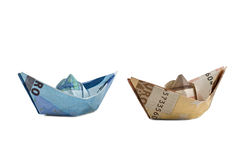 Ships  made of euro banknotes Stock Images