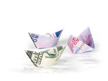 Ships made of money Stock Photo