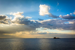 Ships in Manila Bay at sunset, seen from Pasay, Metro Manila, Th Royalty Free Stock Images