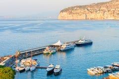 Ships in Marina Grande port in Sorrento. Tyrrhenian sea, Amalfi coast, Italy Royalty Free Stock Images
