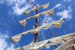 Ships mast and sails Royalty Free Stock Images