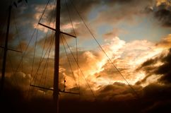 Ships mast and sunset Stock Images