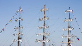 Ships Masts 1. The triple mast of a sailing ship stock photo
