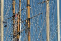 Masts of sailing vessels stock photos